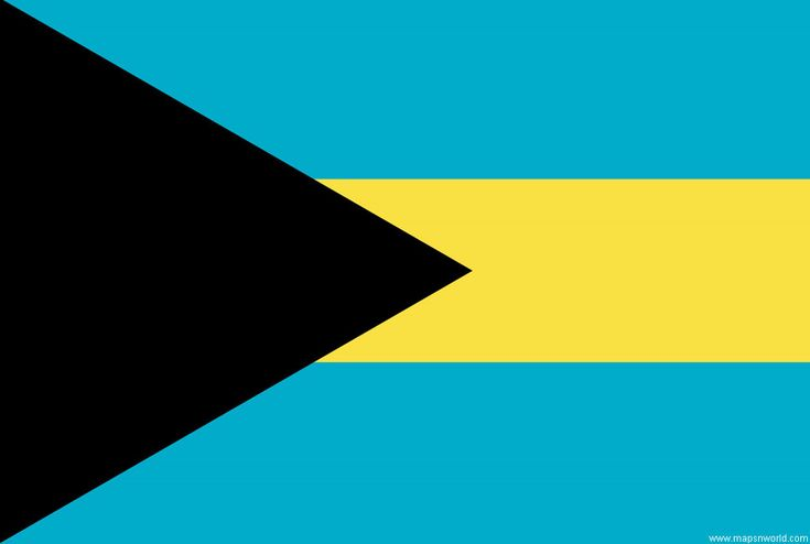 The flag colors are aquamarine-blue, gold, and black. The colors are very symbolic. Gold stands for the sun and sand Blue stands for the sea The black triangle stands for the unity of the Bahamian people, moving forward together.