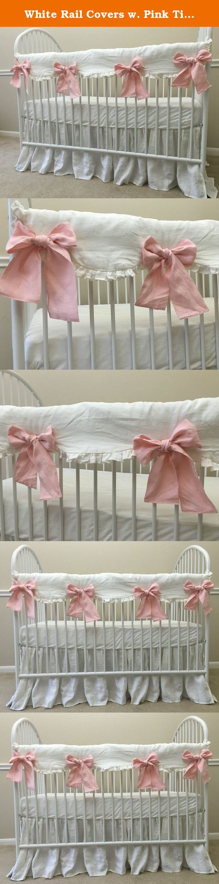 White Rail Covers w. Pink Ties - Scalloped with ruffle hem, Crib Rail Cover for Teething, Handmade Bumperless Crib Bedding Set, Baby Bedding Set, FREE SHIPPING. Nursery room is one of the most happening part of your home where imaginations have no boundaries. This scalloped shaped white rail cover with self-ruffles is classic and pink ties are please to the eye and light up the room. This rail cover is perfect for your bumperless baby bedding and will protect the crib against little teeth...