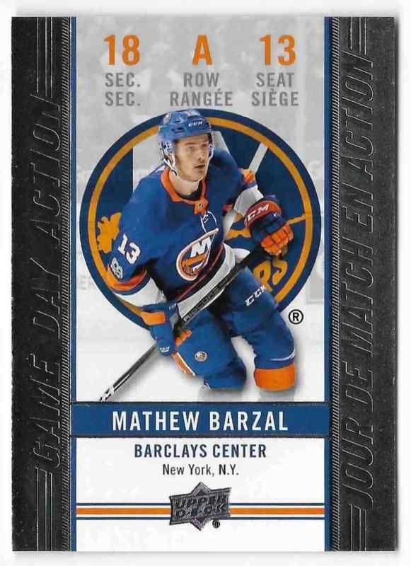 2018 19 Upper Deck Tim Hortons Mathew Barzal New York Islanders Gda 13 Game Day Hockey Cards Cards Baseball Cards