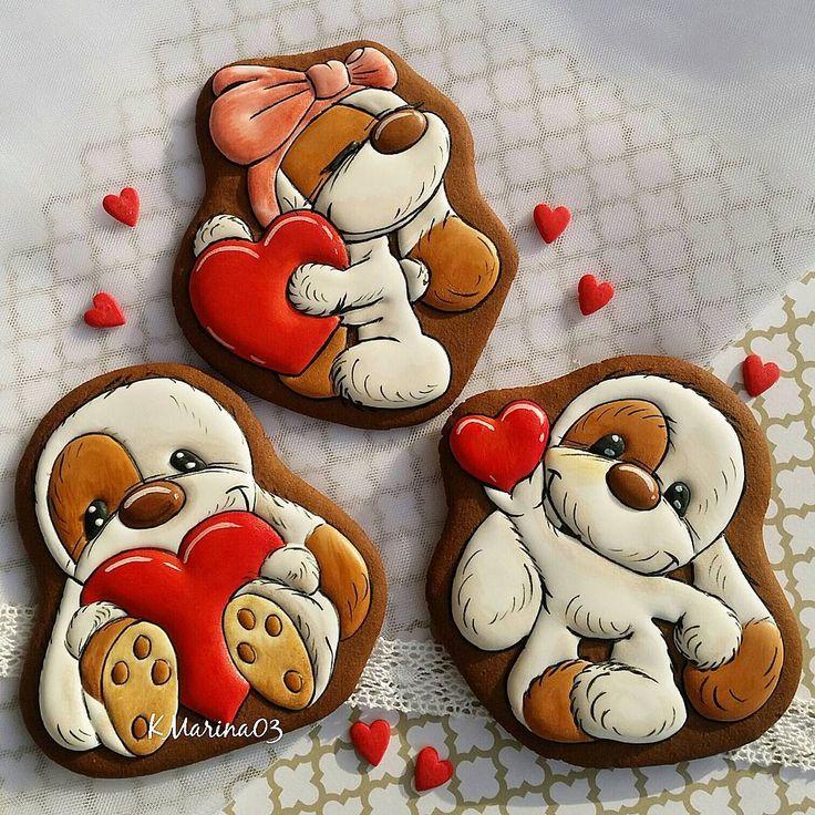 """Instagram 上的 @kmarina03:「 ❄❤❄Медово-имбирные прянички ко дню Святого Валентина! Из серии замечательных и милых щенков!❤❤ Размер пряничков 12""""12см.… 」"""
