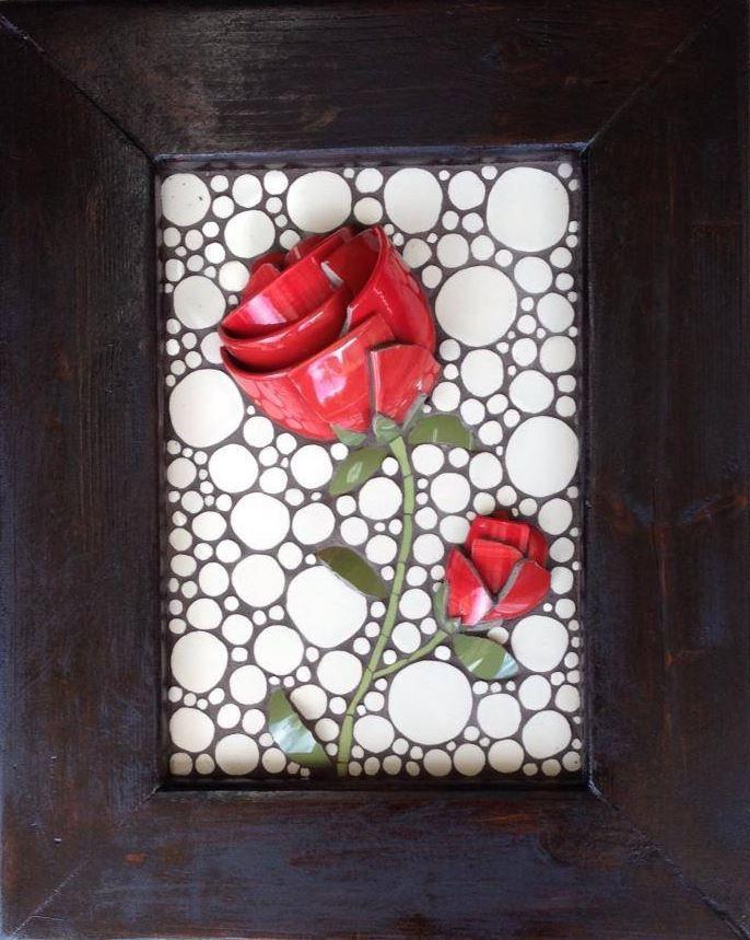 "Red Rose Mosaic with custom rustic frame 16""x20"" By Nikki Murray-Mason, Nikki Inc Mosaics $550"