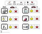 Magnet Experiment – Students predict which items will be attracted to a magnet.  After experimenting, they docusment their findings on a worksheet.