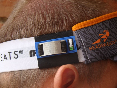 EZBand Sports ID Adjustable Velcro Model fits wide bands like this 40mm Head Sweats visor.