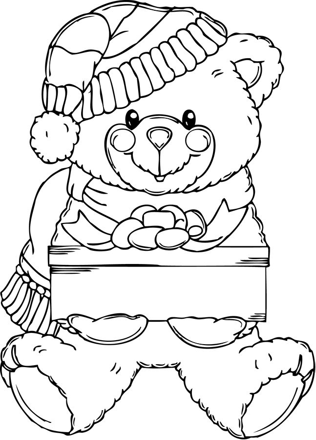 stocking idea christmas teddy bear coloring pages and clip art pictures photosimages