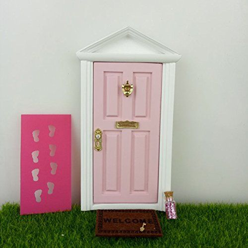 Wooden Fairy Doors The Little Fairy Door Thats Open with Free Fairy Door Accessories Pink Fairy Door Open Outwards Come with Fairy Key,Dust,Foot Printer,Welcome Mat  Fairy doors that open.  The fairy door size is 9.  5cm width ,13.  5cm high.  Made by wooden.  Sgs text report ,safe toy for kids base en71.  Hand painted ,high quality.