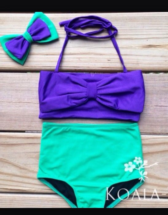 Dark Purple Bow Top & Teal Green High Waist Bikini! Little Mermaid Inspired…