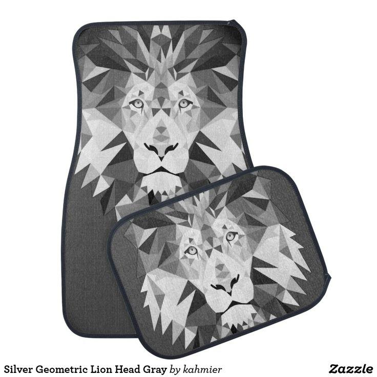 Silver Geometric Lion Head Gray Car Floor Mat  20% off