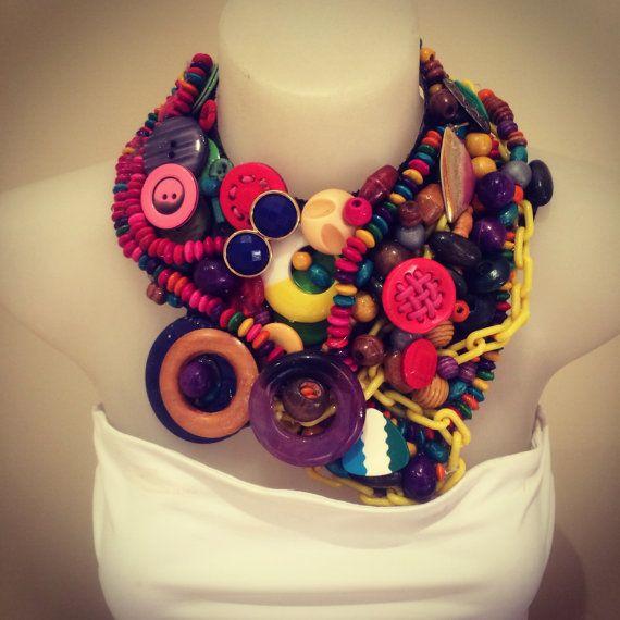 JUNQUE NOT JUNK statement bib collage necklace #statementnecklace