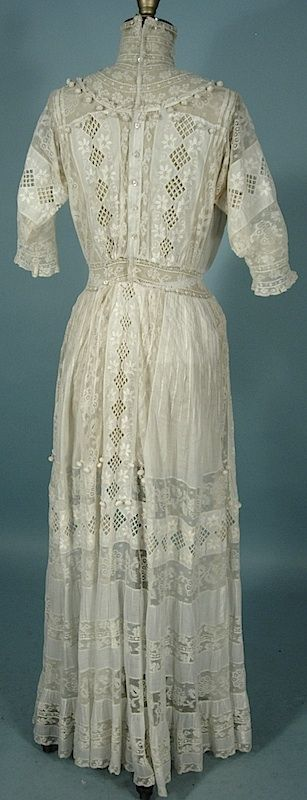 Antique Dress -  1910 B. ALTMAN & Co., New York White High Neck Lawn Dress with Lovely Lace and Crochet Balls!
