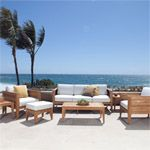 The Craftsman Collection, with bold clean lines and transitional design, mixes elements of traditional and contemporary elements. This lounge set creates a simple yet bold statement, in any outdoor and indoor space, whether it's on the patio, in the garden, or in the living room. Generous proportions in the chairs and the sofa ensure hours of comfort and relaxation. The 7 piece Craftsman Lounge set features: 2 Lounge Chairs, 1 Lounge Sofa, 2 Side Tables, 1 Coffee Table, and 1 Ottoman.