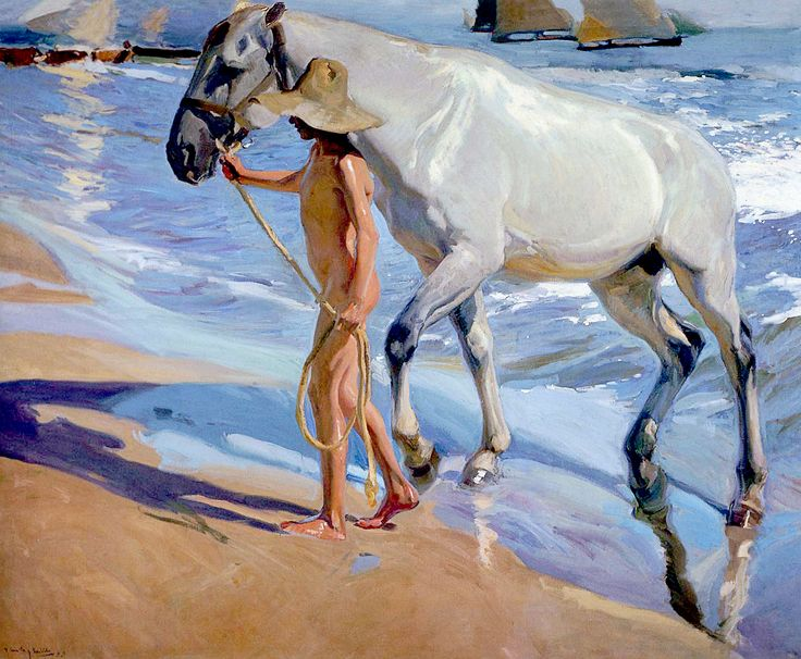 Joaquín Sorolla y Bastida (1853-1923). The Horse Bath, 1909. Oil on canvas. Height: 200 cm (78.74 in.), Width: 246 cm (96.85 in.)