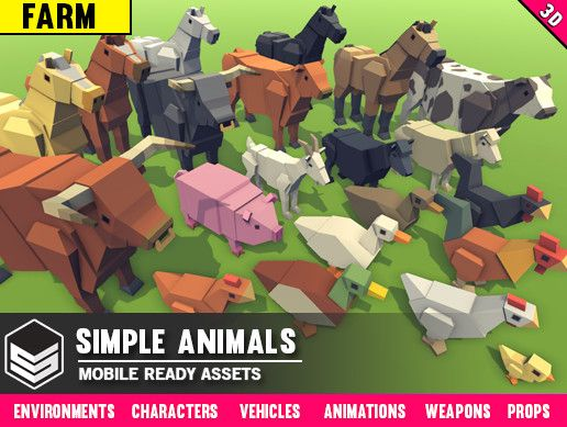 Simple Farm Animals - Cartoon Assets Unity Asset Store