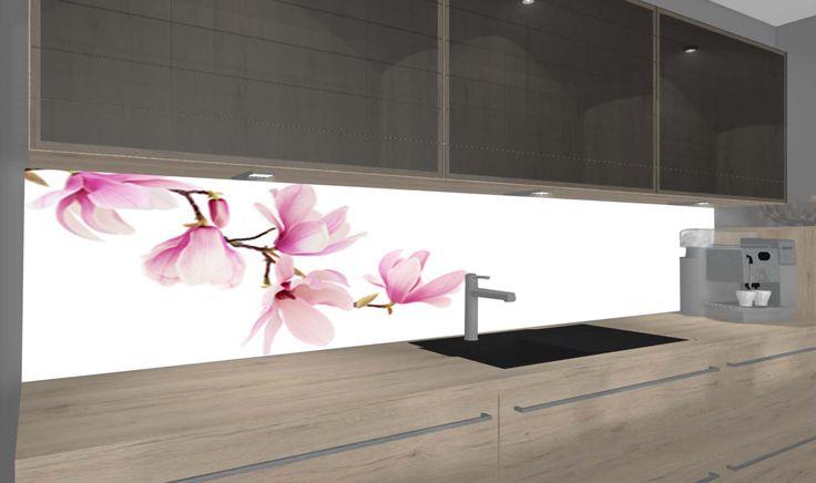 Zarte rosa Magnolia Blüten auf weißem Grund passen in jede Küche. Verschiedene Größen unter www.nischenverkleidung.tidis.de