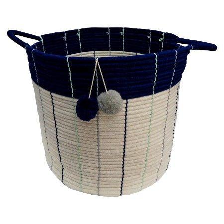 Large Storage Basket - Pom Pom Navy - Pillowfort™ : Target
