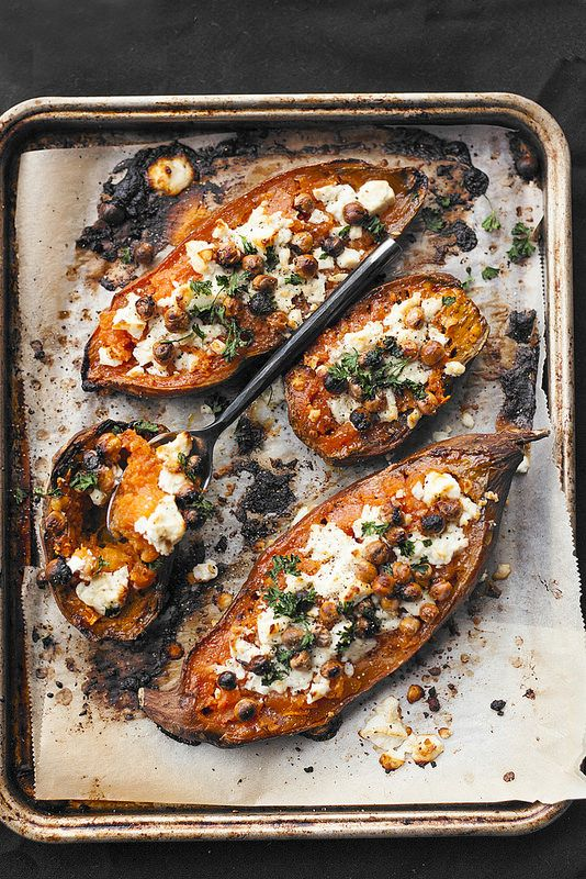 Healthy Sweet Potato Recipe - Chevré Grated Sweet Potatoe served with roasted chick peas. Mushy and Delicious!