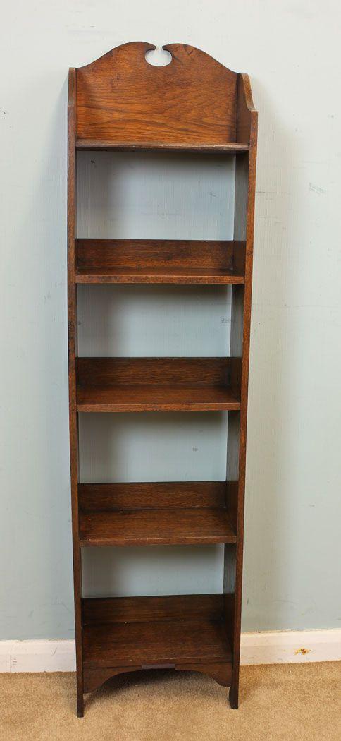 Antique Slim Oak Bookshelves
