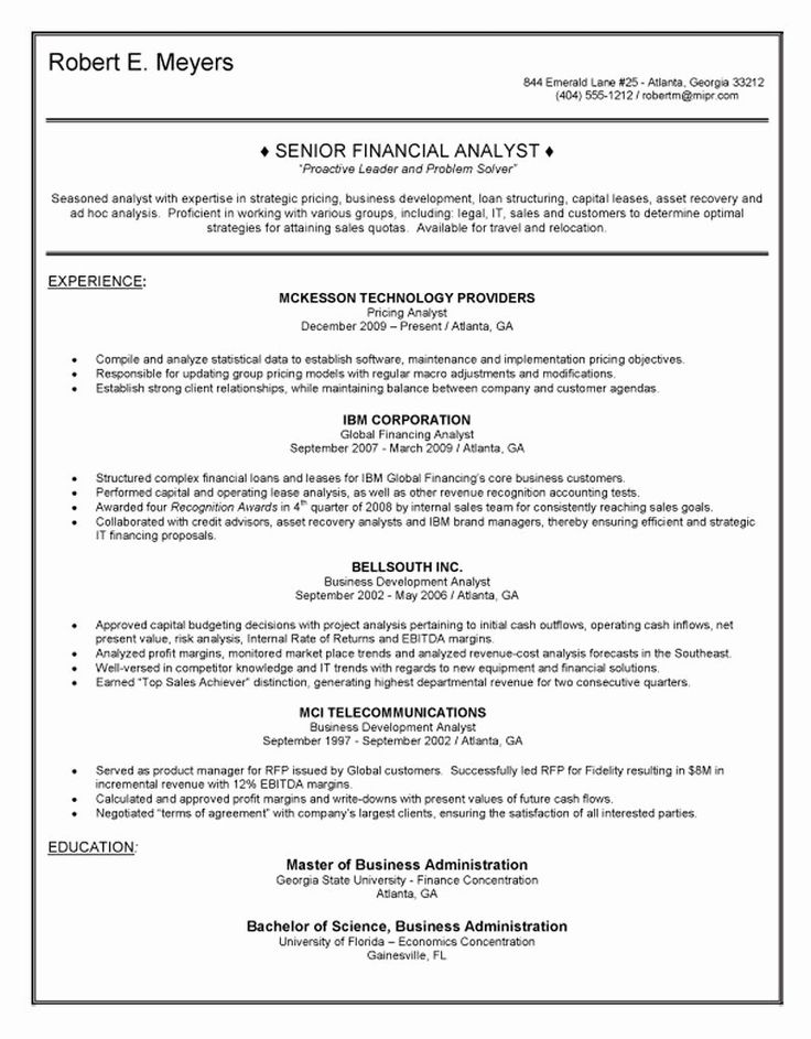 Financial Planning and Analysis Resume Inspirational