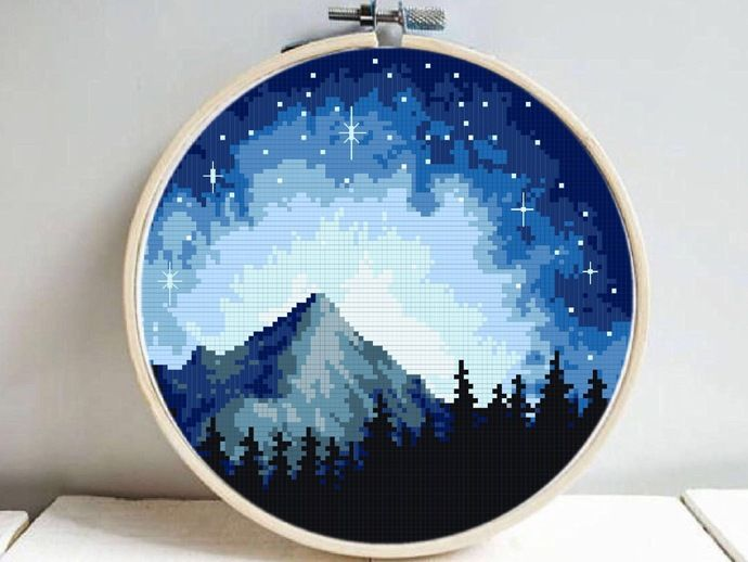 Starry Night Modern Cross Stitch Pattern Nature Easy Counted