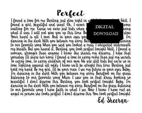 Perfect By Ed Sheeran Song Lyrics Wedding Song Lyrics Song Lyrics Art You Look Perfect Tonight Song Lyrics Art Wedding Song Lyrics Lyrics Art
