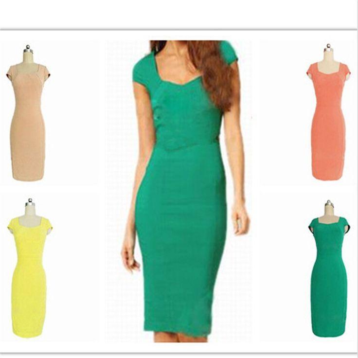 Fashion Cotton Blends Candy Colors Square-Collar Women Summer Short Sleeve Slim Dress