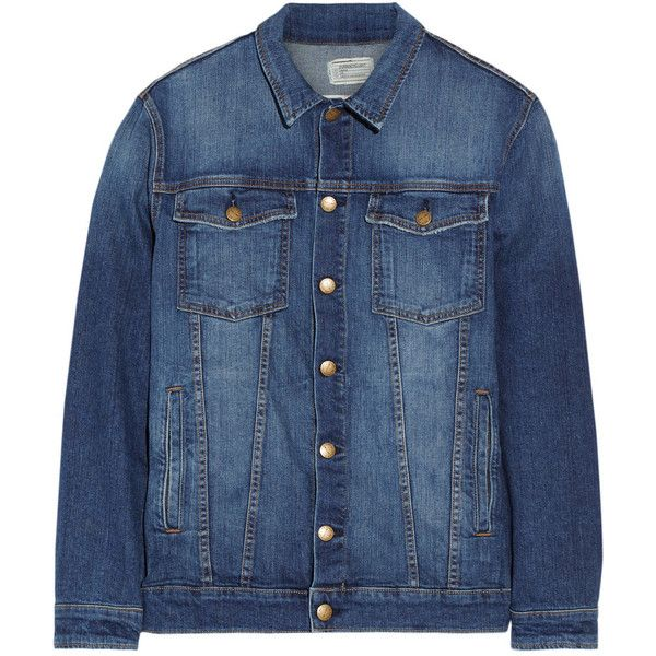 Current/Elliott The Oversized Trucker stretch-denim jacket found on Polyvore featuring outerwear, jackets, dark denim, blue jackets, button jacket, dark denim jacket, current elliott jacket and tartan jacket