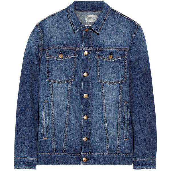 Current/Elliott The Oversized Trucker stretch-denim jacket (£115) ❤ liked on Polyvore featuring outerwear, jackets, dark denim, blue plaid jacket, button jacket, plaid jacket, tartan jacket and petite jackets