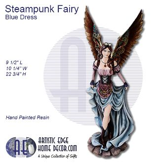 Steampunk Fairy Strolling Holding her Blue Dress