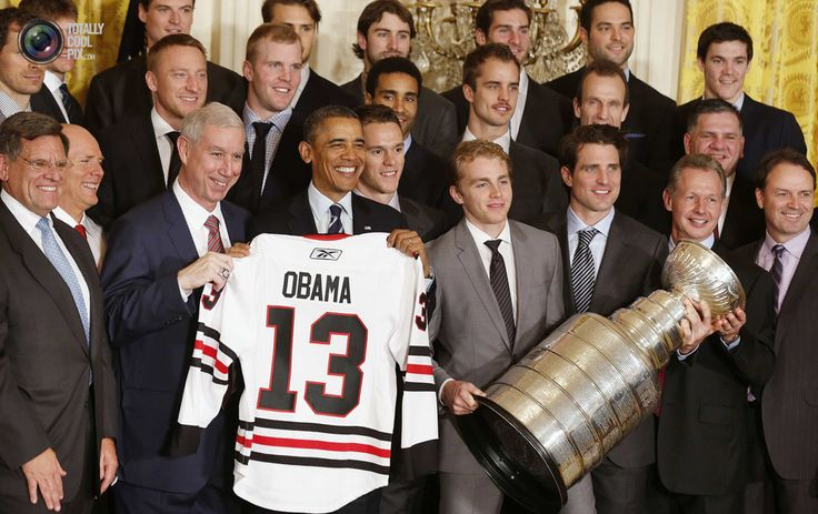 Coolest Sports Pix Of 2013 Week 45 - U.S. President Obama poses with 2013 NHL Stanley Cup champions Chicago Blackhawks in Washington. LARRY DOWNING/REUTERS