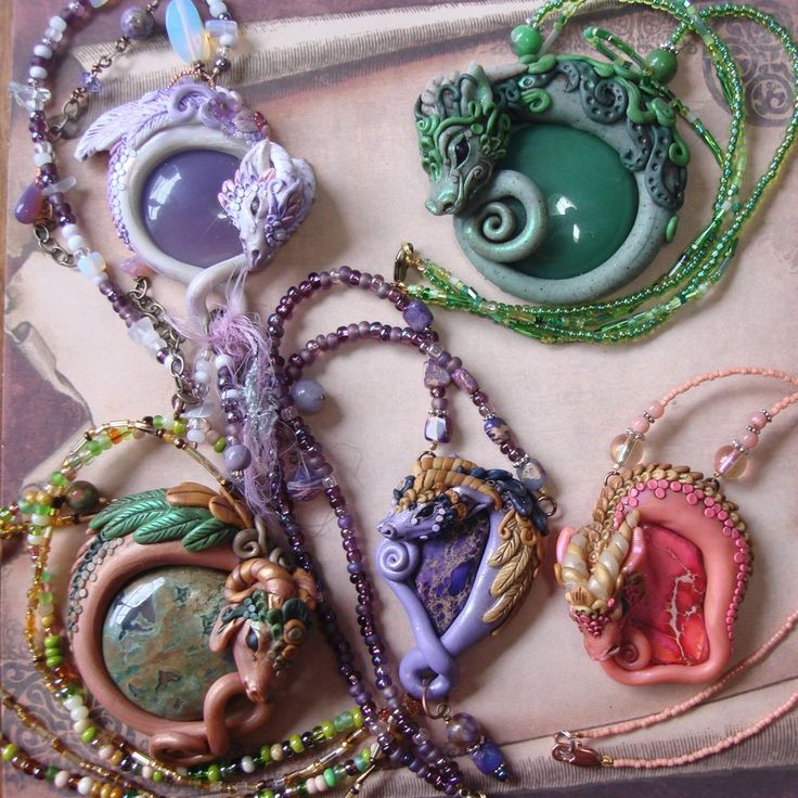 A Gaggle of Polymer Clay Dragons by ~elvenelysium on deviantART