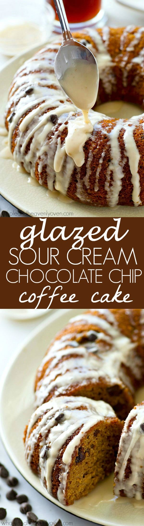 The absolute BEST classic sour cream coffee cake you'll ever have! Studded with gooey chocolate inside and covered with plenty of glaze.