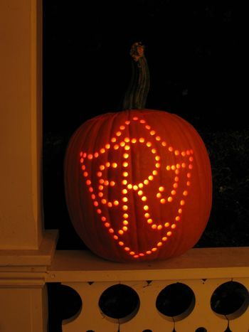 Carved Pumpkins from Eddie Ross–Monogram  ((Made with a drill!  S.))