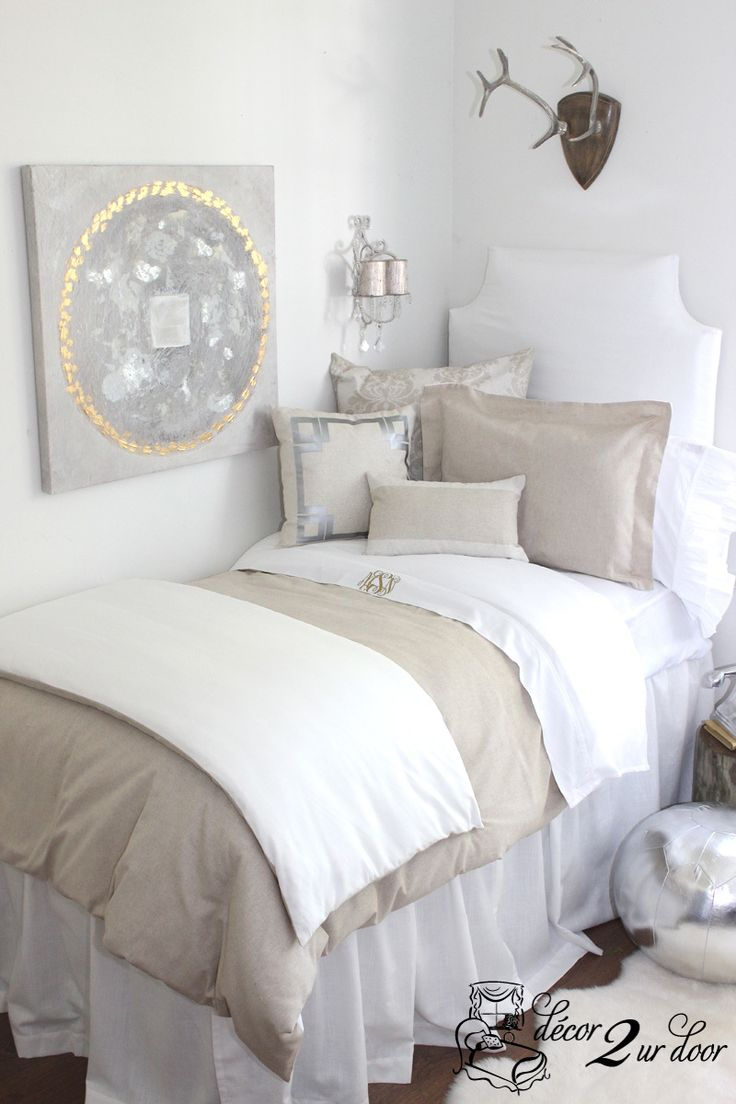 Neutral Dorm Room Bedding. Dorm Décor and More! Available in all bed sizes: twin, full/queen, and king. Custom pillows, exclusive bed scarf, window panels, wall art, bed skirts, and custom monogramming! Custom-made designer bedding and accessories.