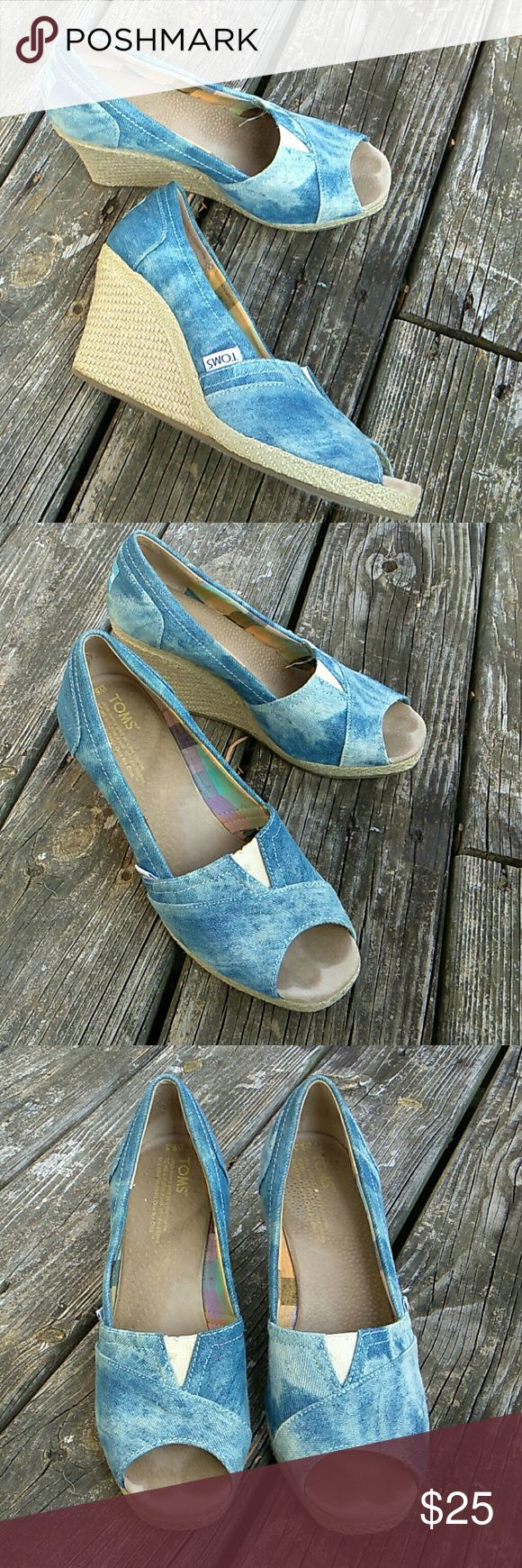 Toms Sz 6.5 Denim Wedge Espadrilles Peep Toe V good condition with footprints on insoles as shown. Otherwise v clean uppers, edges, and soles. Toms Shoes Wedges