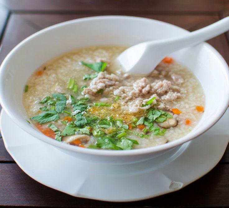 Rissuppe med svinekød (Khao Tom muh) - opskrift - Lav thai mad