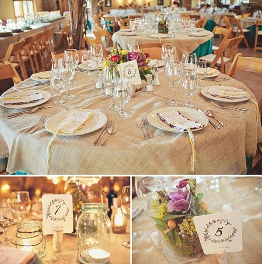 Hessian table covers.