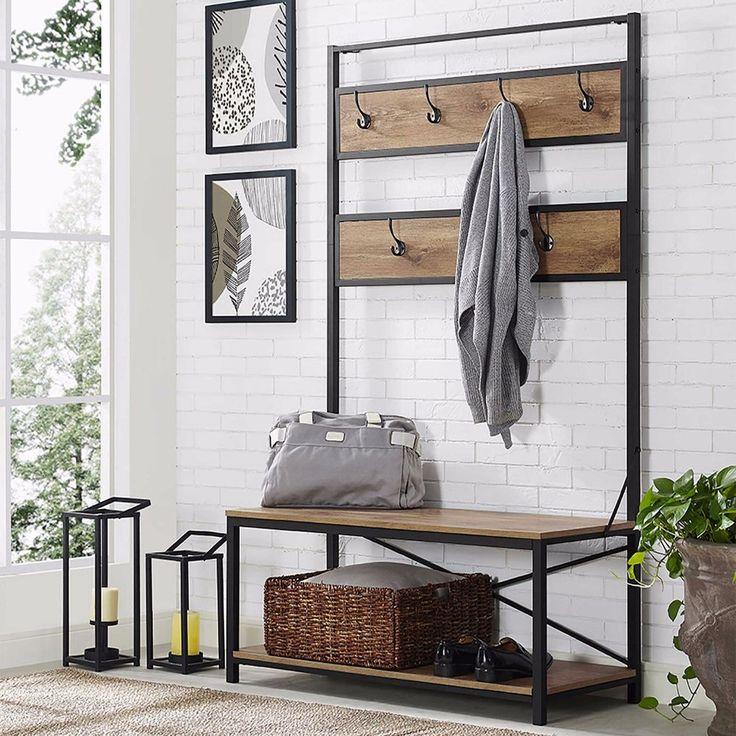 Entryway Storage Coat Rack Industrial Hall Tree Metal Wood Contemporary Design    eBay