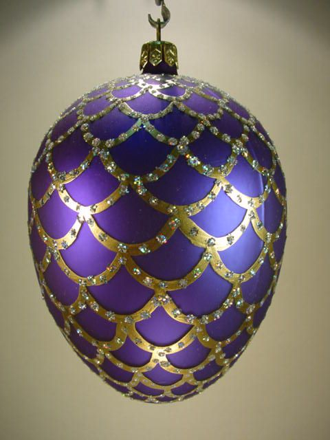 Purple Faberge Egg Style Christmas Bauble