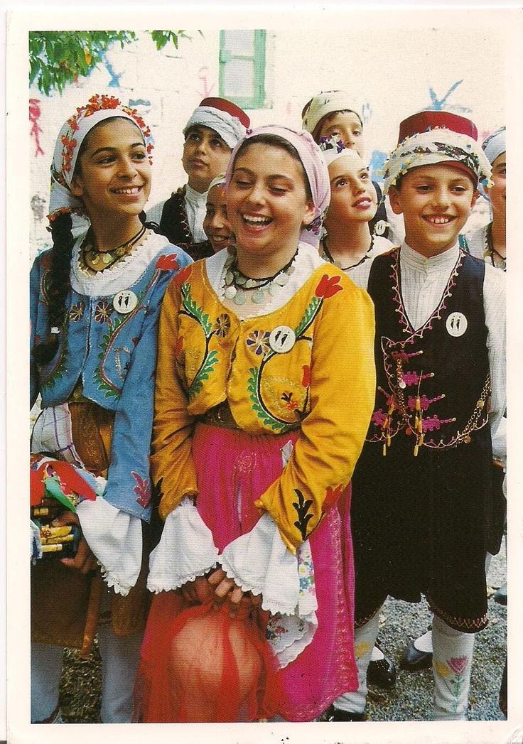 "traditional folk clothing from the Turkish Republic of Northern Cyprus.  Following Sicily and Sardinia, Cyprus is the third largest island in the eastern Mediterranean. The name ""Cyprus"" comes from the Greek word for copper ( ""kypros""). People of both Greek and Turkish heritage live on Cyprus today."