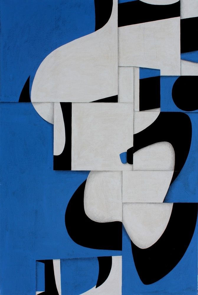 Cecil Touchon : Post-Dogmatist Painting 572 - acrylic and collage on canvas.