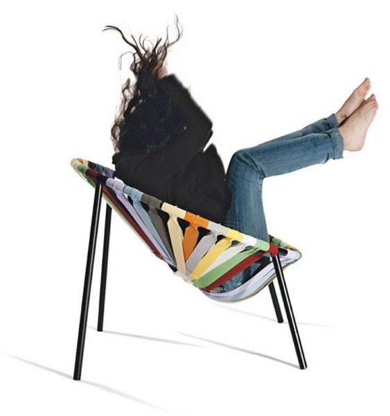 contemporary chair made of colorful rubber bands