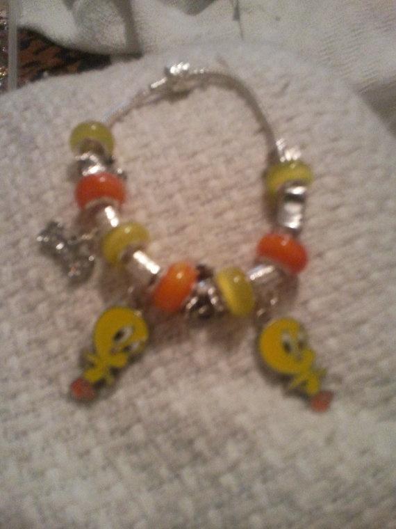 Tweety Bird Pandora Style Bracelet By Janiyasjewels On