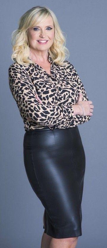 Carol Kirkwood Leather Skirt Celebrity Outfits Spandex