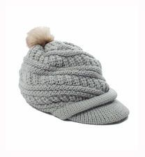 Perfect for those cold winter days, the Born Stylish Cap in glacier grey cap with pom pom. #winterfashion #girls