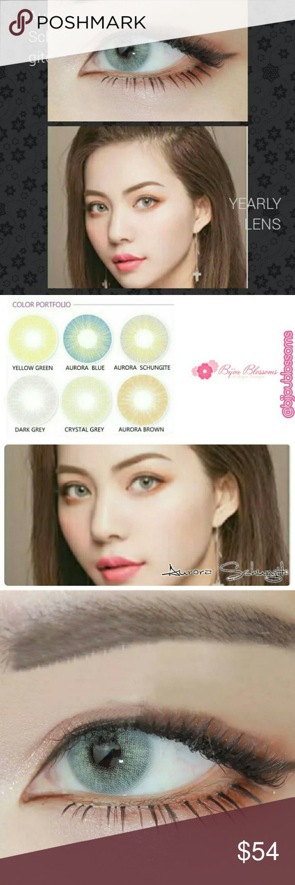 Aurora Schungite Hidrocor Yearly Contact Lens Beautiful Aurora Series Hidrocor three tone color contact lens. This listing is for one pair of plano -0.00 (no prescription) yearly disposable color contacts lens in the color Aurora Schungite.?   Details are as follows:  Expiration date: 01.2022 Base curve:8.5mm Diameter:14.2mm Center thickness: 0.08mm? Water content: 40% Main material: HEMA Lenses hardness: Soft Life span: One year  Please Note: 1.Brand new, high quality with fast shipping…