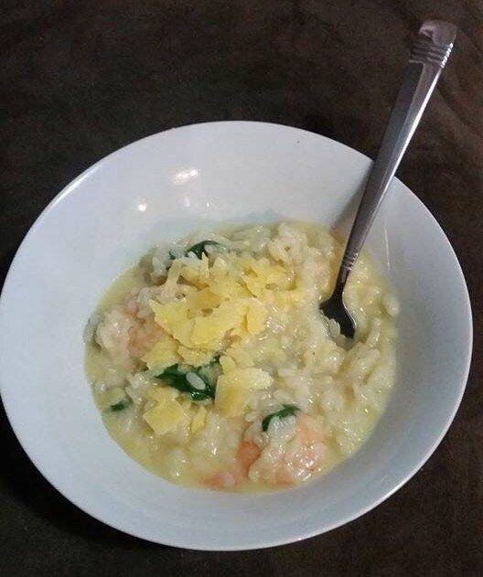Creamy garlic prawn rissotto |