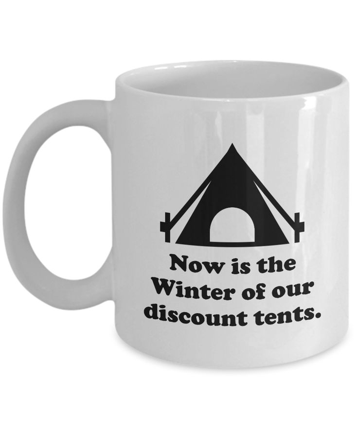 William Shakespeare Pun Mug - Winter of Our Discount Tents - Funny Puns Literary History Inappropriate Mugs Coffee Cup