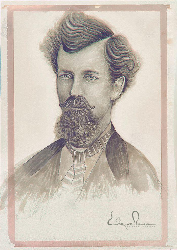Retrato de hombre Tinta, Rotulador y lápiz. Enrique Parra