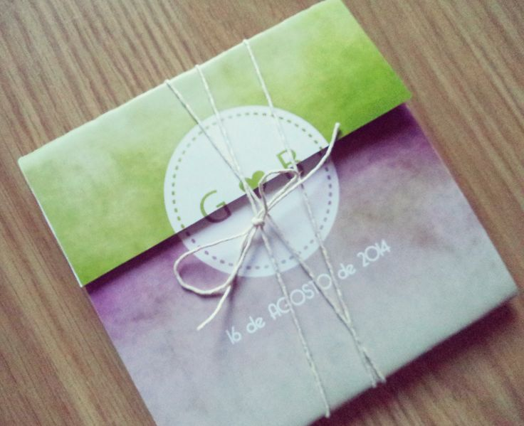 { G & B Purple and Green invitations }  Tríptico 12,5 x 12,5 /// impressão frente e verso /// com guita