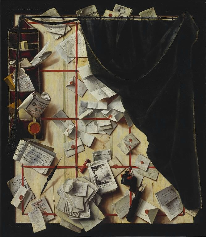 Trompe l'oeil. Board Partition with Letter Rack and Music Book | Cornelius Norbertus Gijsbrechts | 1668 | Statens Museum for Kunst | CC0