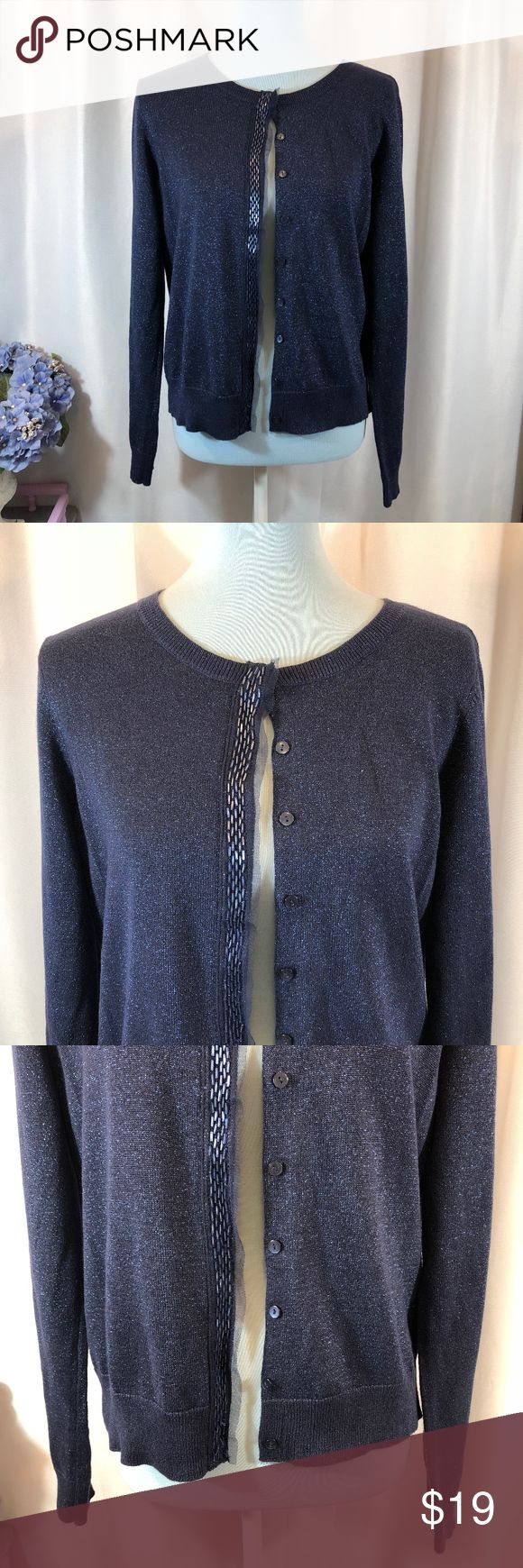 """Charter Club Blue Metallic Cardigan Sweater, L Brand: Charter Club Size: L Material: 85% Cotton, 10% Polyester, 5% Metallic  Condition: Pre-owned in good condition with no rips, stains, or tears  Approx. Measurements Bust: 39"""" Length: 23.5"""" Sleeve: 24.5"""" Charter Club Sweaters Cardigans"""
